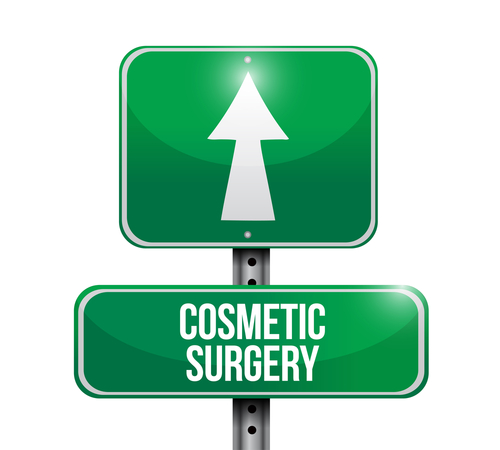 "A green traffic sign with an up arrow and ""COSMETIC SURGERY"" written above it"